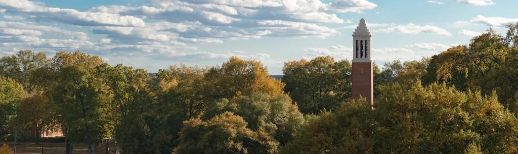 Quad treetops, Denny Chimes