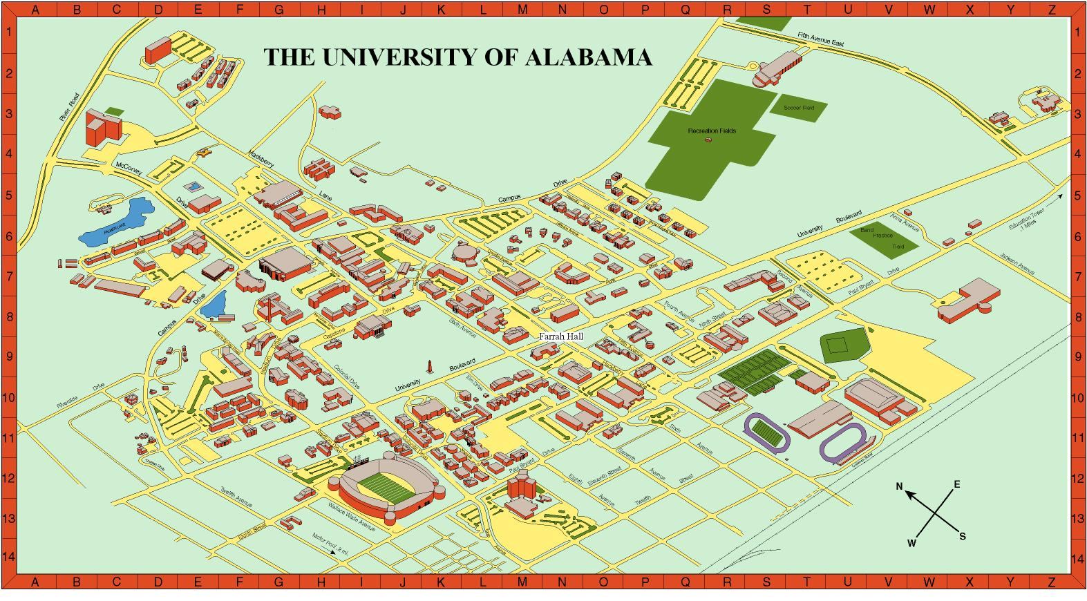 University Of Alabama Campus Map Contact Us University Of Alabama Campus Map
