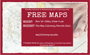 Poster advertising free maps in the Map Library