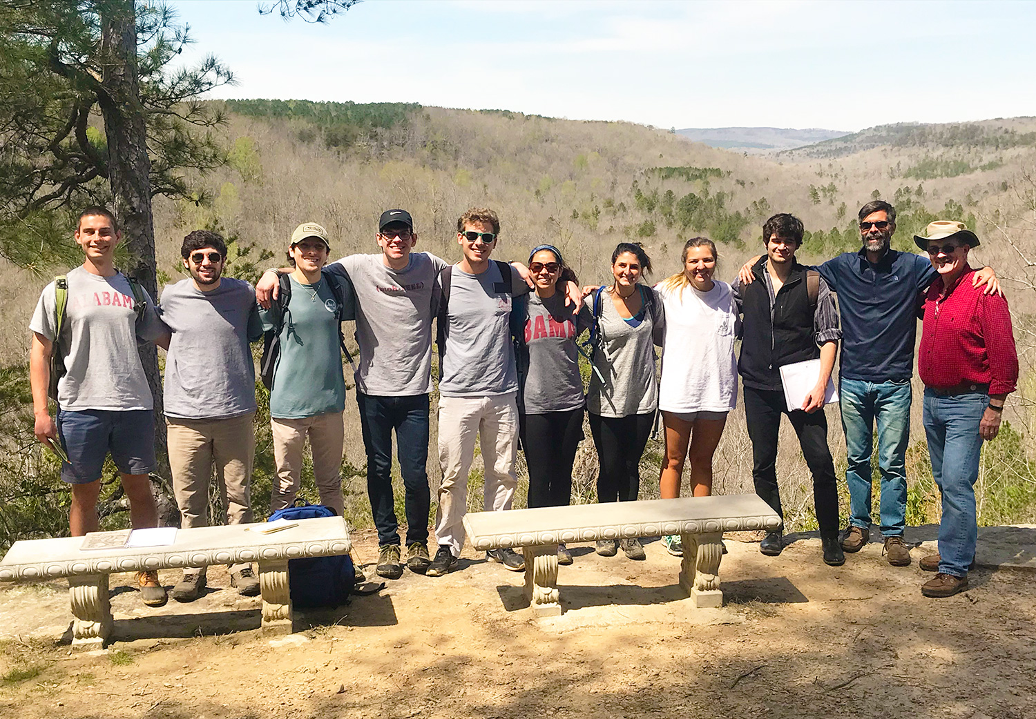 students and faculty on a hiking trip
